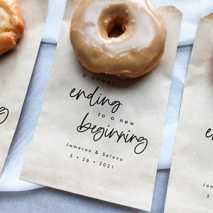 A Sweet Ending to a New Beginning Wedding Favor Bag, Cookie bag, Donut bag