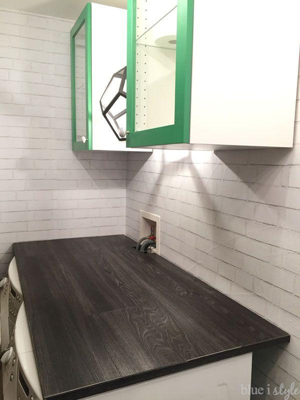Diy Wood Plank Laundry Room Countertop Vinyl Flooring Laundry