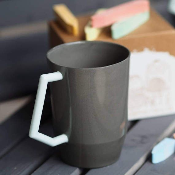 Large Coffee Mug Gifts For Her Porcelain Grey Tea Cup Gift Home Kitchen Table Decor Glazed Pottery Ceramic Birthday Cups