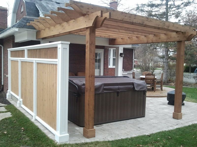 hot tub pergola privacy screen covered porch with hot. Black Bedroom Furniture Sets. Home Design Ideas