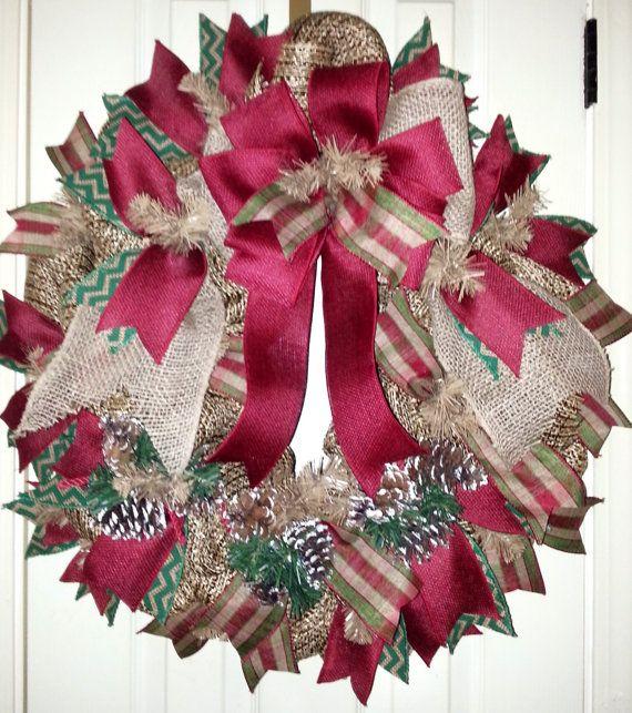 Sale wreath Burlap Christmas Wreath burlap by aDoorMeWreaths