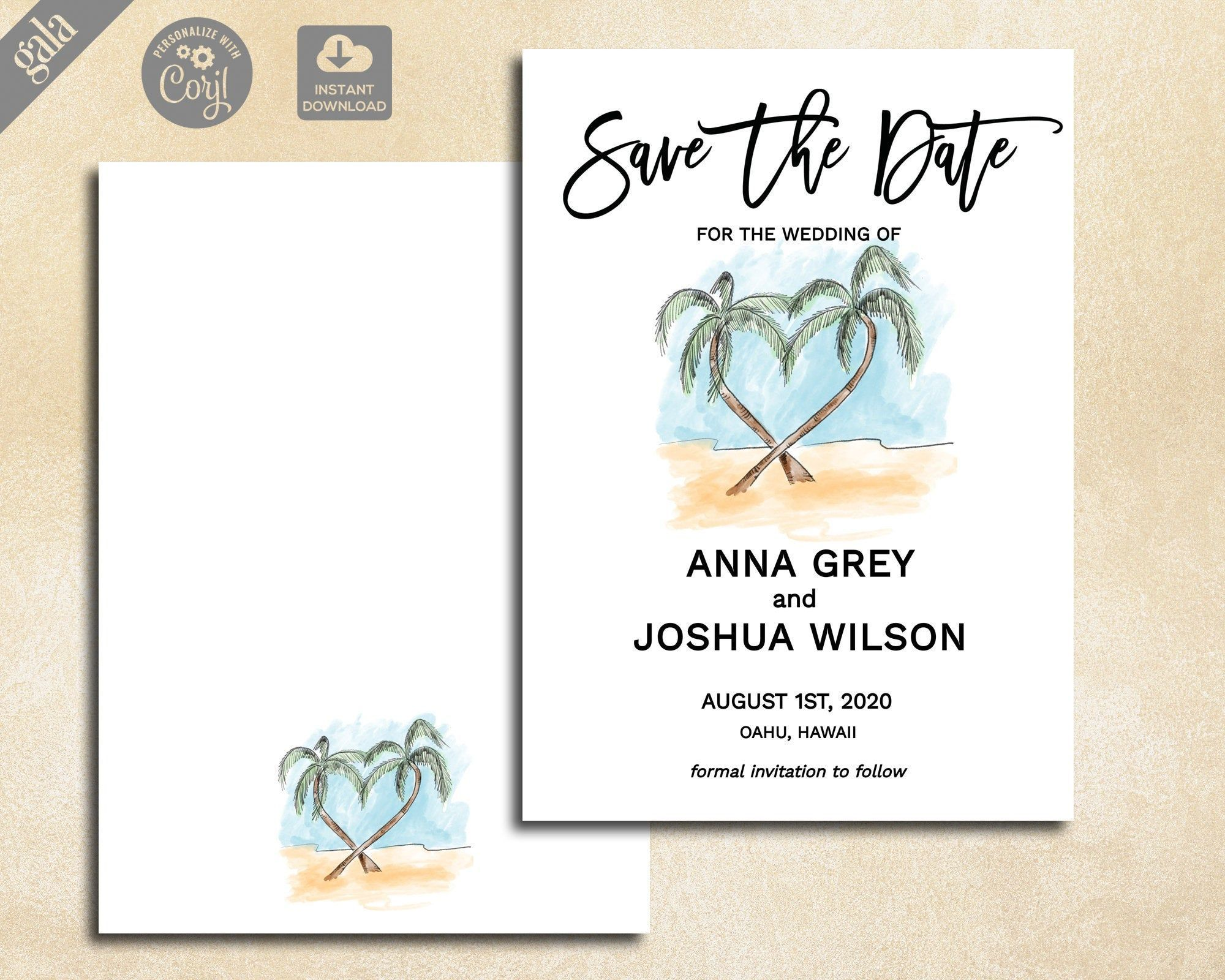 Custom Calligraphy Beach Palm Trees /& Hibiscus Printable Engagement Invitation and Save the Date Card Pastel Watercolours Tropical