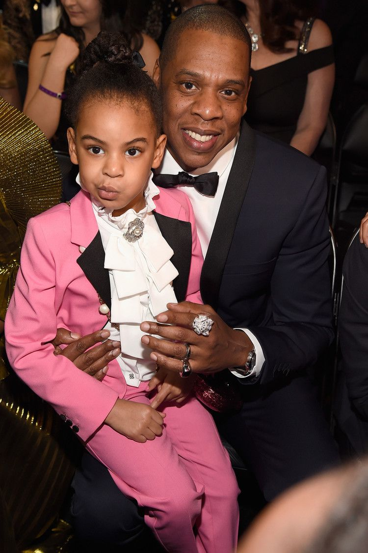 Pink dress shirt blue suit  Following in Her Dadus Footsteps Blue Ivy Raps on JAYZus  and