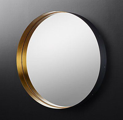Rh Modern S Varese Two Toned Round Mirror Sheets Of Solid Brass Are Wrapped Around Simple Deep Frames In Our Two To Mirror Round Mirrors Round Mirror Bathroom