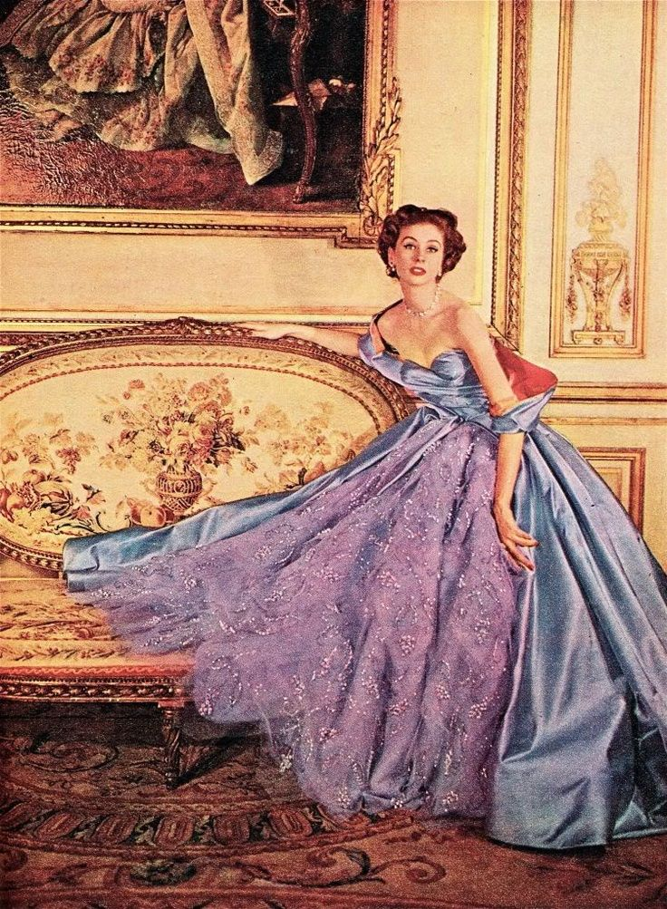 Suzy Parker wearing an evening gown, 1953.