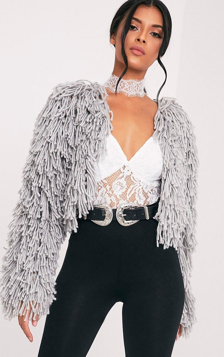 0ddad12eb407f0 Grey Shaggy Knit Cropped CardiganAdd a touch of luxury to your outfit with  this cardigan