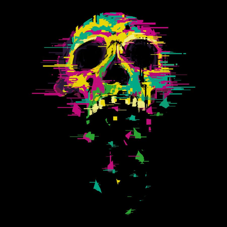 Colored skulls T shirt Design