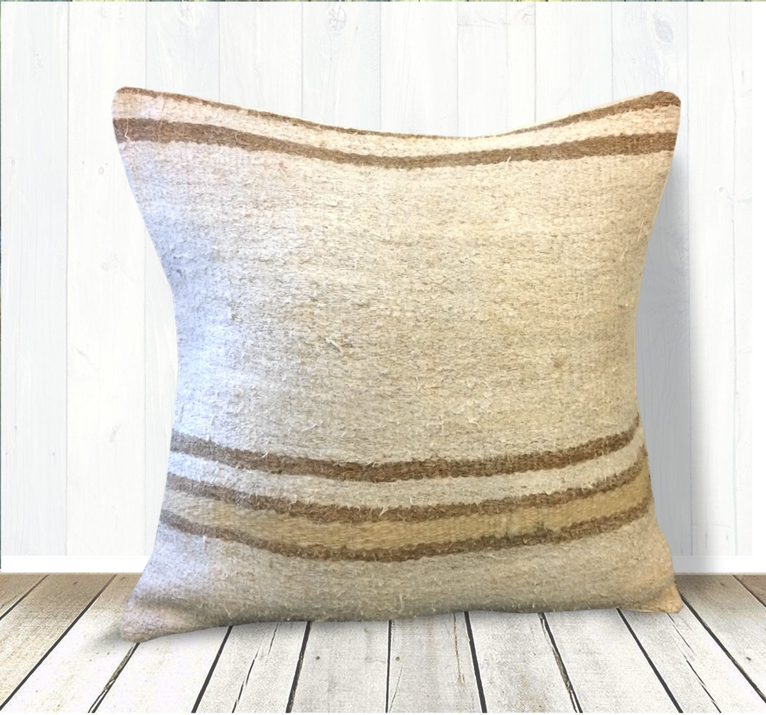 Stupendous Cream White Brown Yellow Stripe Hemp Pillow 20X20 Kilim Gmtry Best Dining Table And Chair Ideas Images Gmtryco