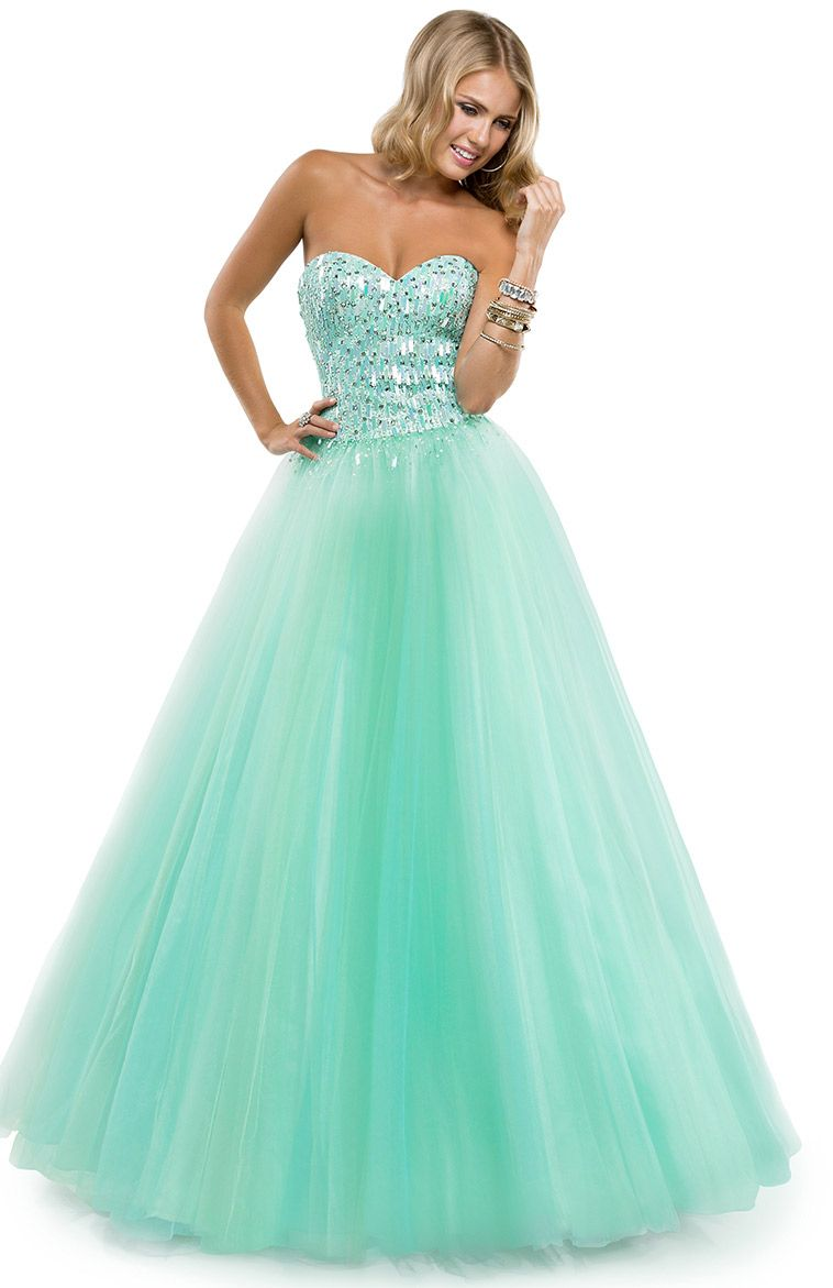 is this not gorgeous!? this strapless mint green colored ballgown