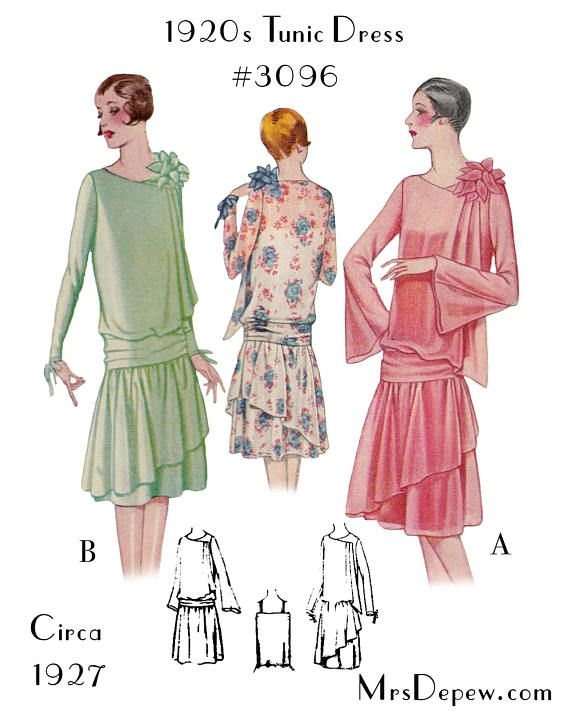 Vintage Sewing Pattern Ladies\' 1920s Dress with Drapery #3096 38 ...