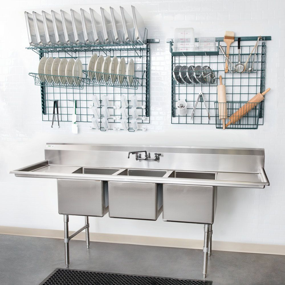 Ideal For Setting Up A Washing Rinsing And Sanitizing Station This Regency 94 3 Compartment Si Commercial Kitchen Design Commercial Sink Commercial Kitchen