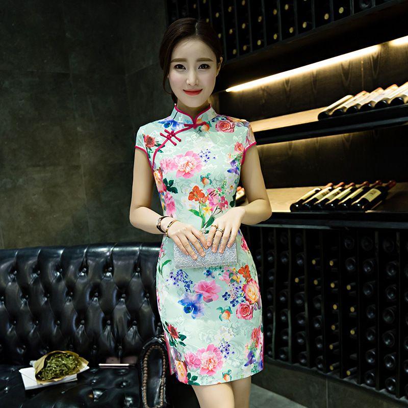 Knee Length Floral & Birds Pattern Silk Blend Cheongsam