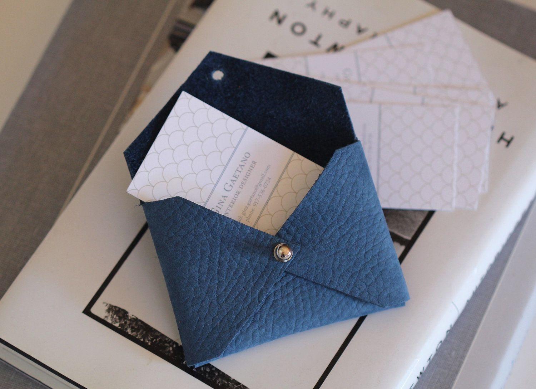 Periwinkle blue leather handmade business card holder, envelope ...
