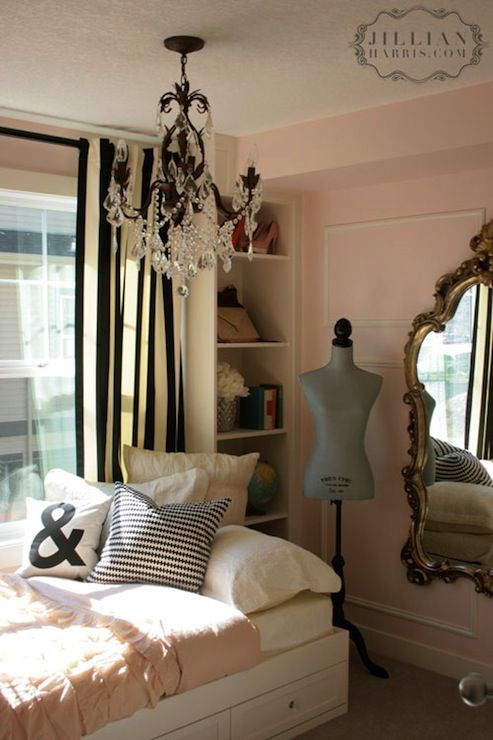 Jillian Harris   Girls Bedroom   Soft Pink Walls   Black U0026 White Drapes    Gold Part 52