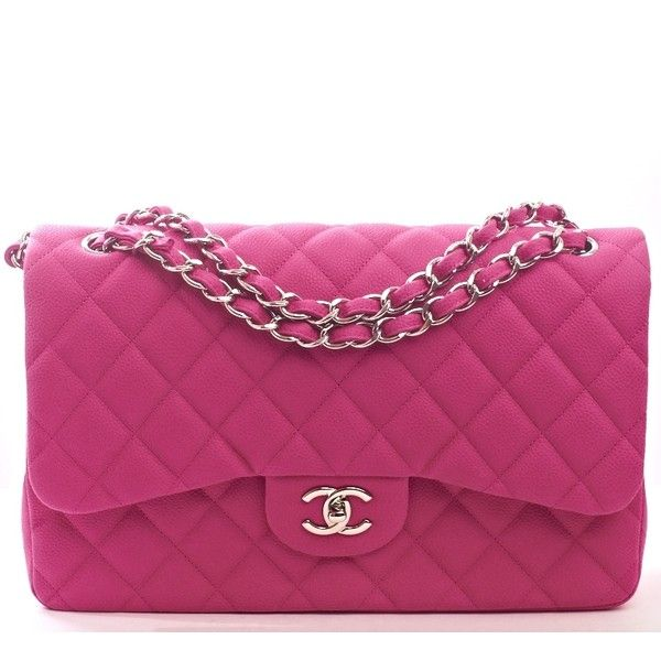 8b9a40993569 Chanel Hot Pink Matte Iridescent Quilted Caviar Classic Jumbo 2.55 Double  Flap Bag.