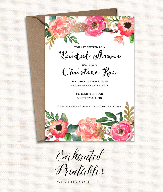 Floral Bridal Shower Invitation Printable, Bridal Shower
