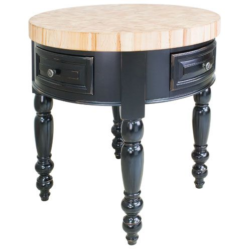 Stockton Round Butcher Block Kitchen Island Round Kitchen Island Black Kitchen Island Round Kitchen