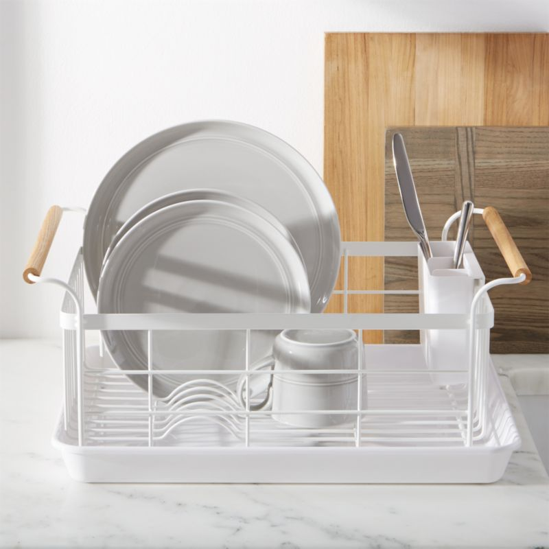 Tosca White Dish Rack with Wood Handles + Reviews   Crate and Barrel