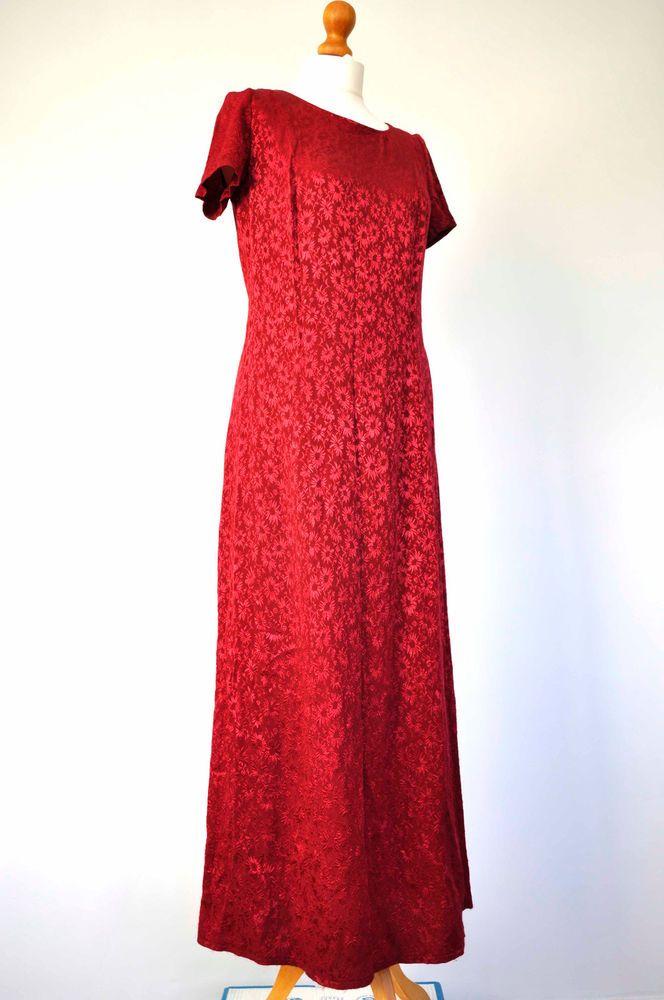 Vintage Red Maxi Sheath Dress Short Sleeves Laura Ashley Size 10 12UK