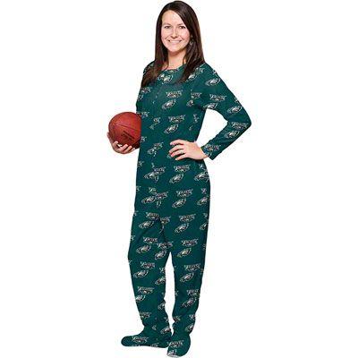 watch 4f200 ba131 Philadelphia Eagles Women's Green One-Piece Footie Pajamas ...