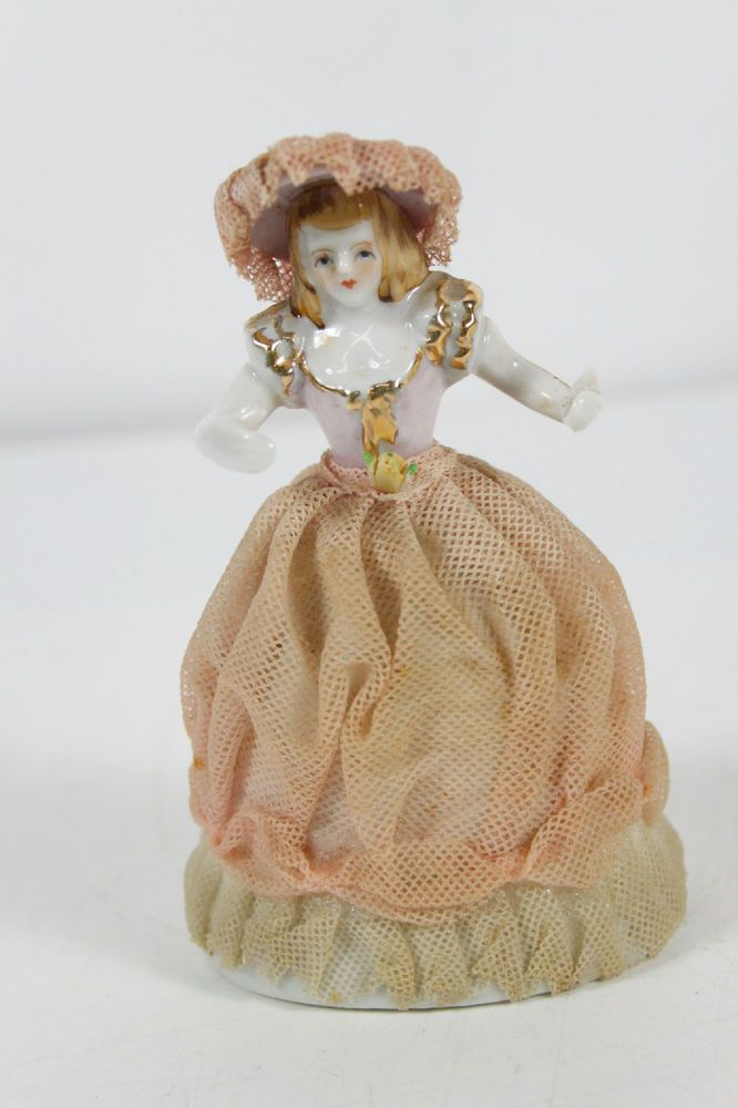 Vintage Dresden Style Porcelain Pink White Lace Gold Trim Woman Figurine #Victorian