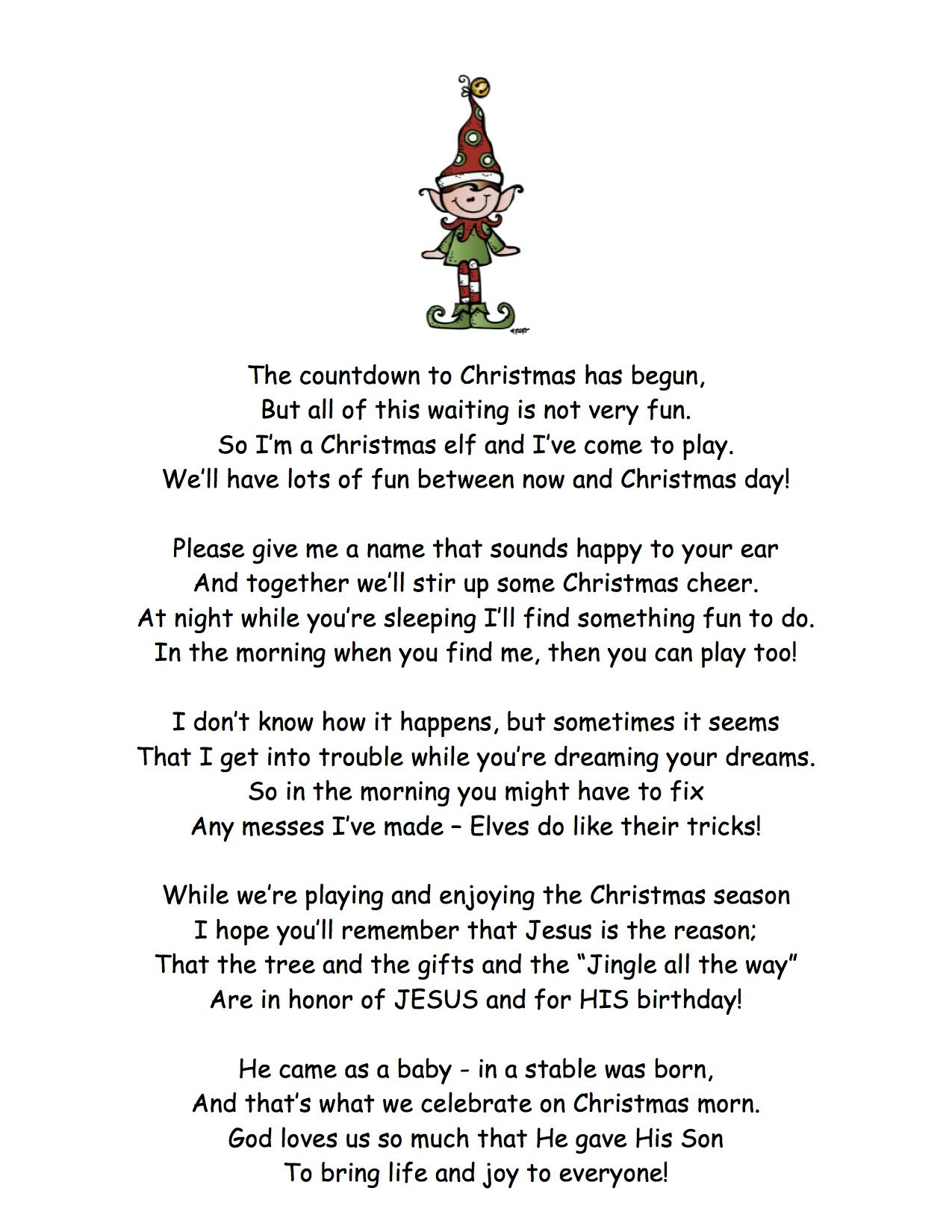 elf on the shelf introduction focuses more on the christmas story rather than santa it was written by my mom