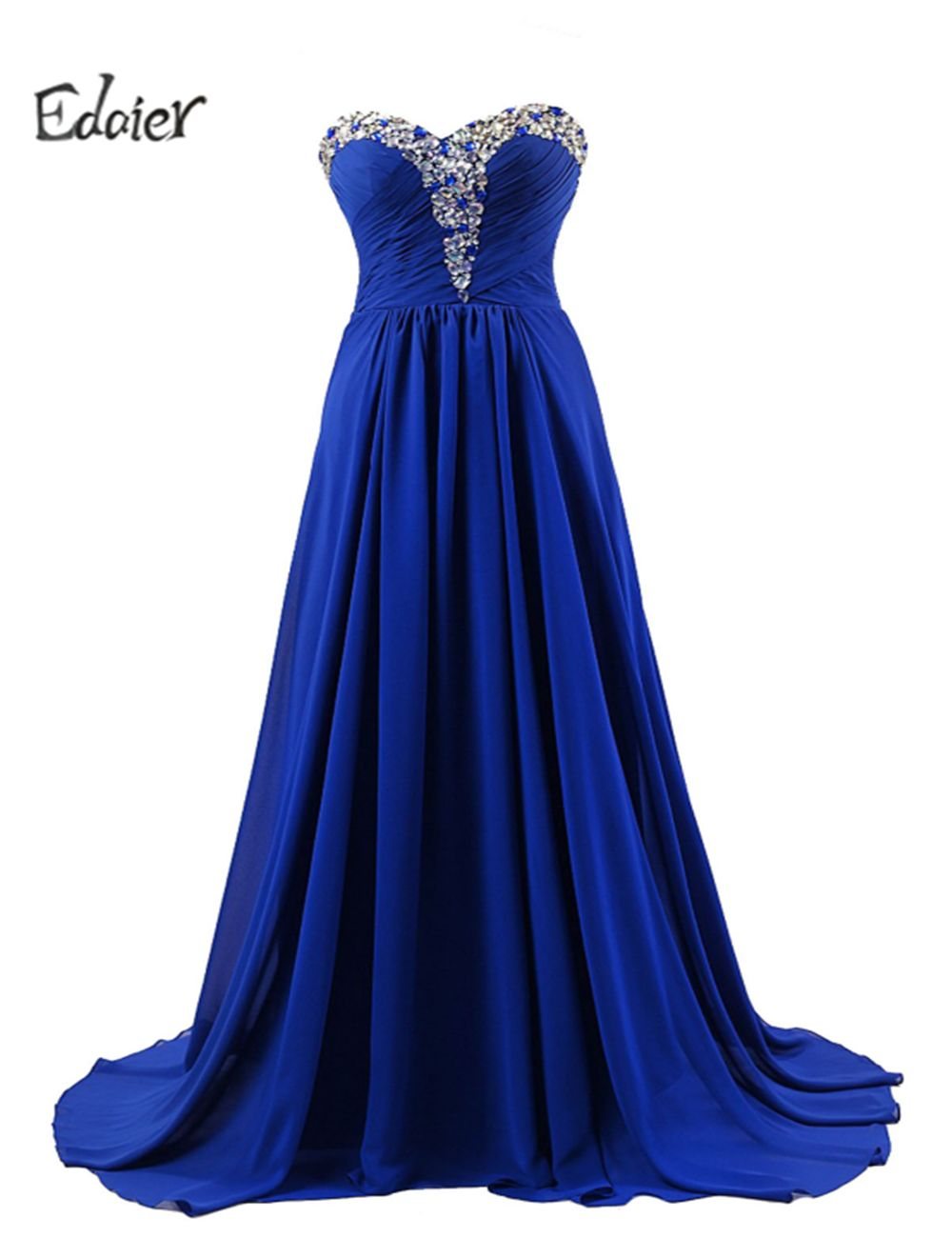 Royal blue wedding dresses plus size  Free Shipping Buy Best Long Chiffon Crystals Bridesmaid Dress