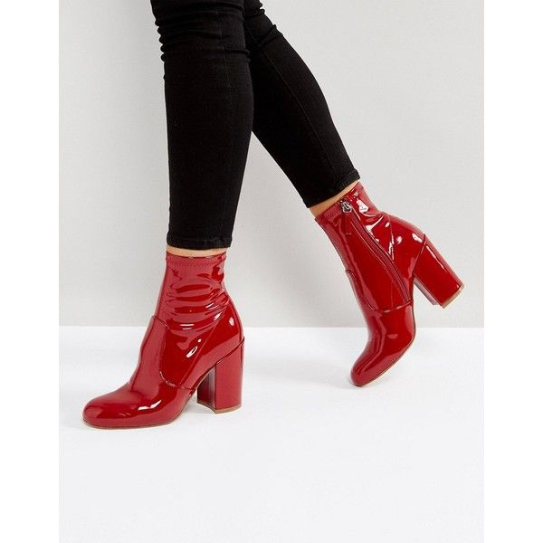 Steve Madden Gaze Ankle Boots ($97) ❤ liked on Polyvore featuring shoes,  boots, ankle booties, red, wedge bootie, red ankle boots, red wedge bootie…