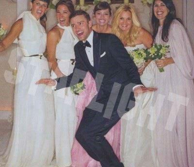 Justin Timberlake Jessica Biel Candid Wedding Photo