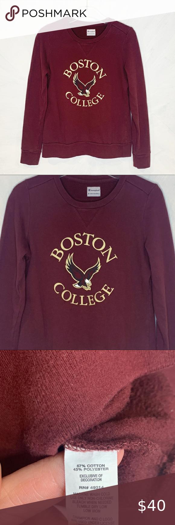 Champion Boston College Bc Crewneck Sweatshirt Crew Neck Sweatshirt Sweatshirts Sweatshirt Tops [ 1740 x 580 Pixel ]