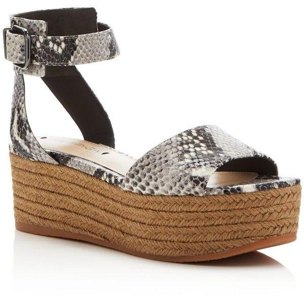 Via Spiga Nemy Snake Embossed Espadrille Flatform Sandals