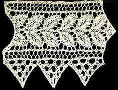 Knitted rose leaf edging with triangular lace border ...