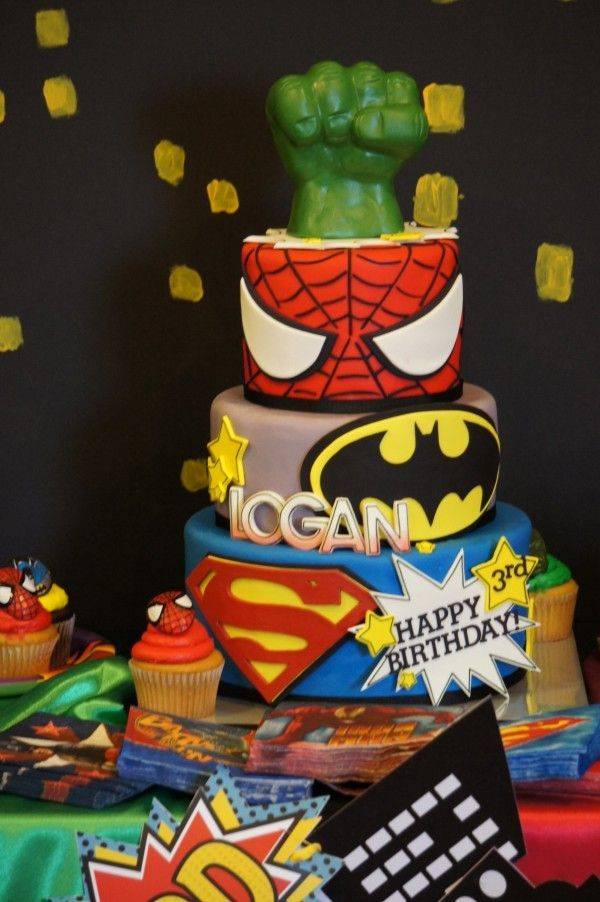 Boys Birthday Cake Ideas Superhero cake Cake designs and Superhero