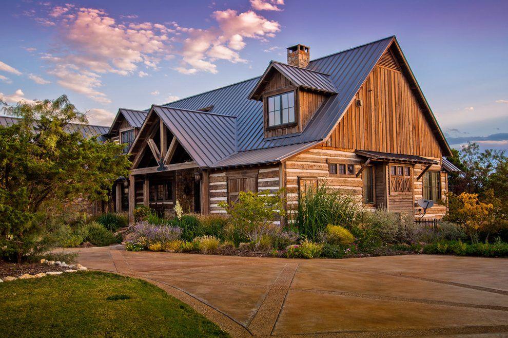 log cabin metal roof exterior rustic with metal roof brown