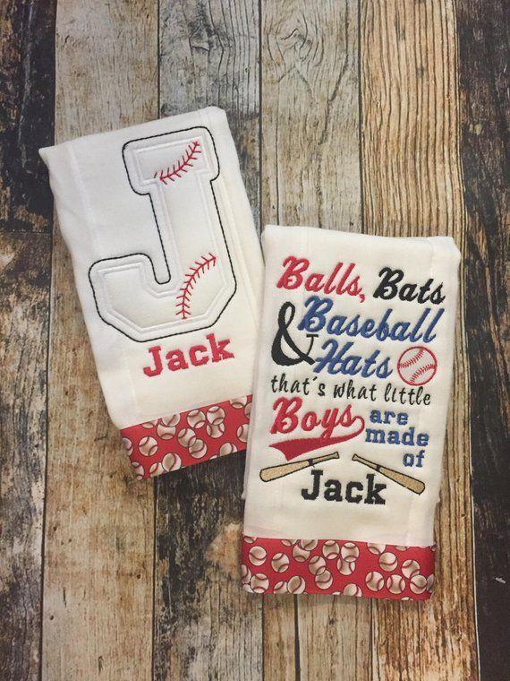 6ff67152a184e Baseball Personalized Boys Burp Cloth Set - 2 Embroidered Burp ...