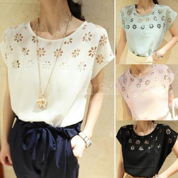 2014 New Fashion Flowers Hollow Loose Batwing Sleeve Crew Neck Chiffon T-Shirt Women Top dresslink.com $3.37