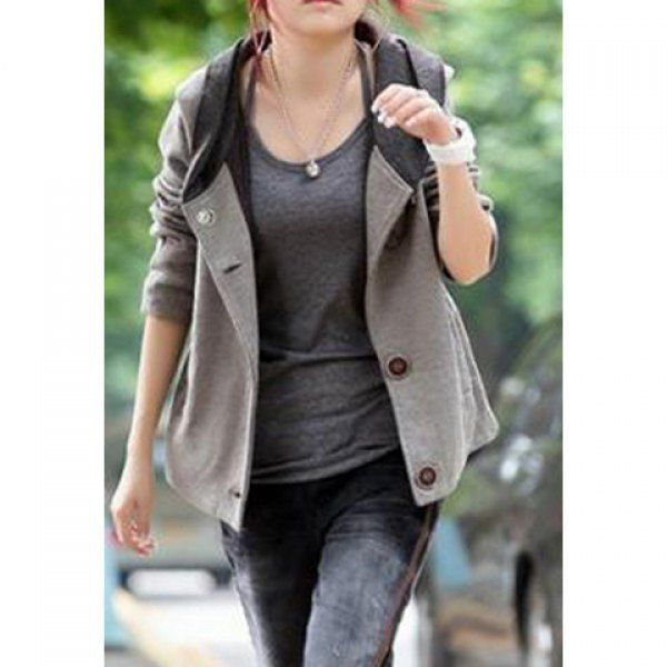 Color Block Hooded Casual Style Long Sleeves Cotton Blend Women's ...