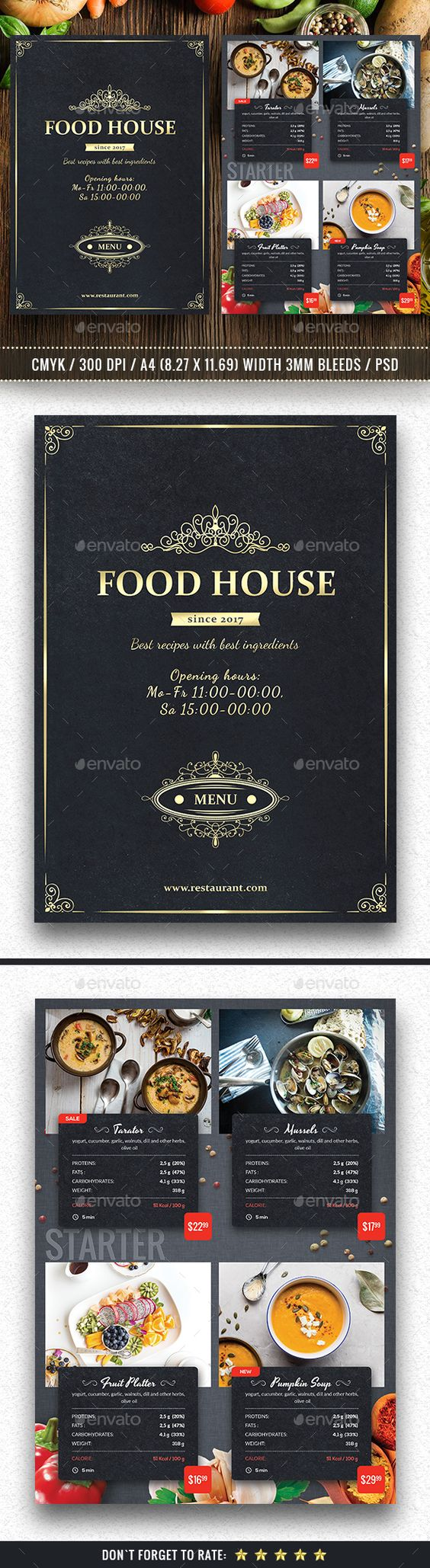 Food House Menu  U2014 Photoshop Psd  Dinner Flyer  Catering