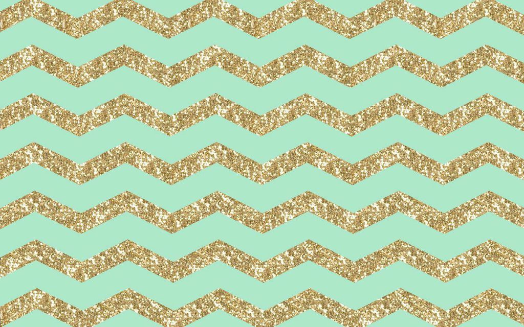 Mint Gold Chevron Desktop Wallpaper Background