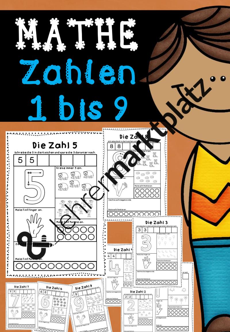 Mathe - Arbeitsblätter für die Zahlen 1 bis 9 | Mathe in der ...
