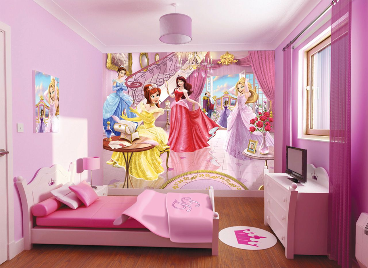 amazing Princess Room Theme Part - 7: wallpaper for rooms for girls | Beauty Disney Princess Wallpaper for Kids  Room on LoveKidsZone .
