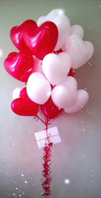 balloons in pink, red and purple colors for valentines day decorating