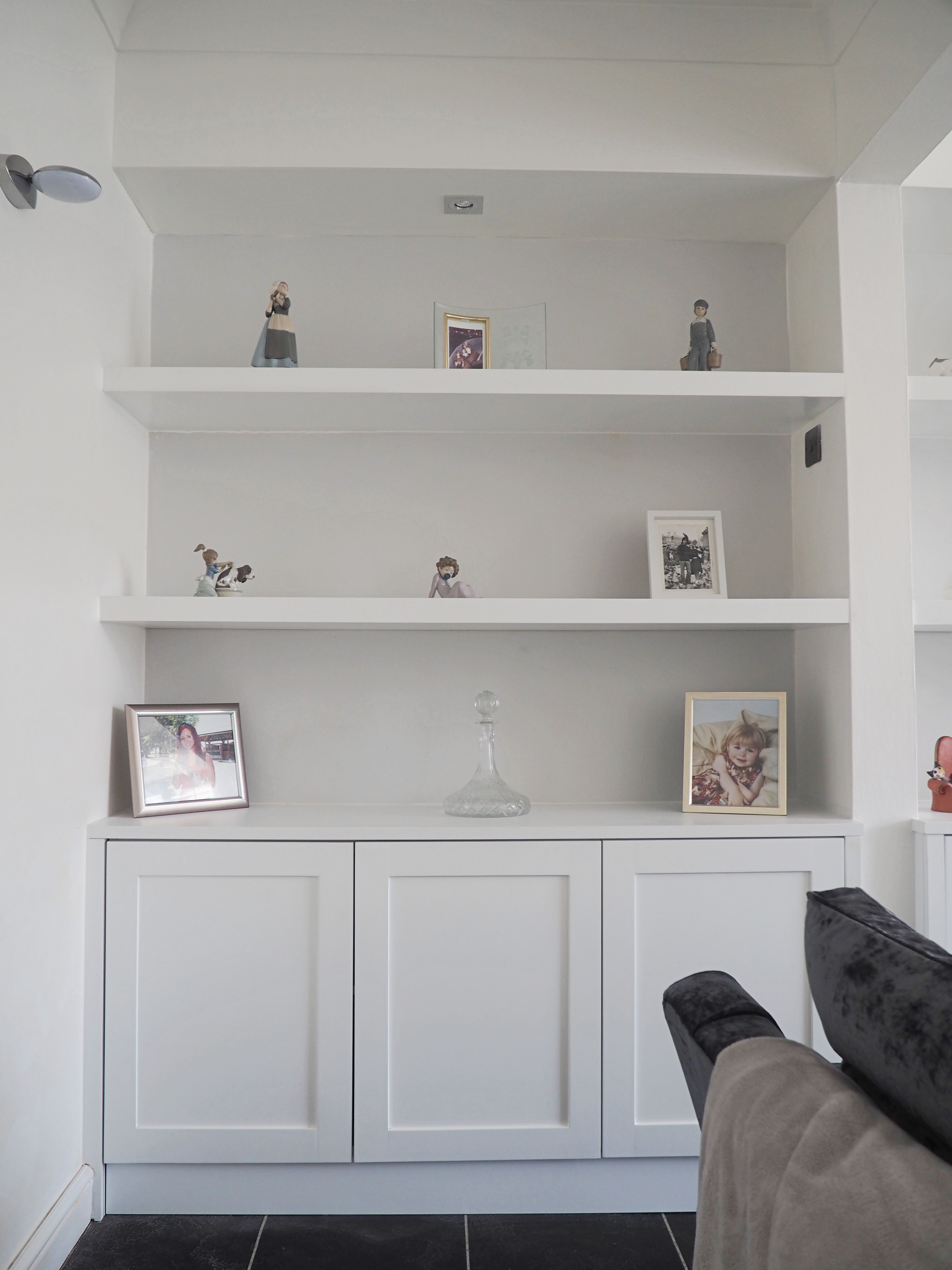 Shaker Alcove Cabinet with floating shelves above #FloatingShelvesTvWall Floating Shelves Tv