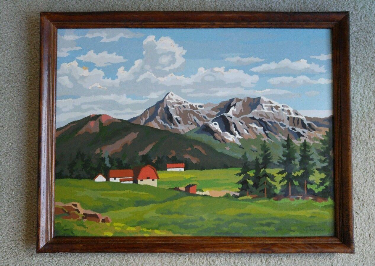 Vintage 1960s Oil Paint By Number Mountain Side Farm Scene Framed ...