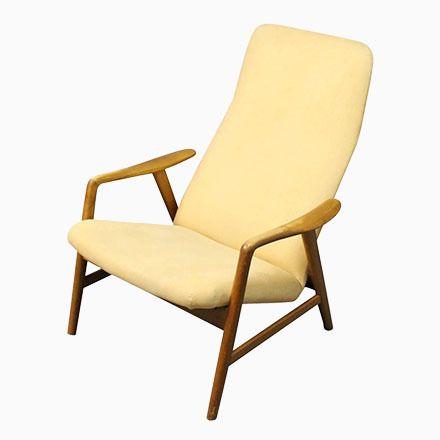 Lounge Liegestuhl mit Hoher Rückenlehne von Alf Svensson für Fritz