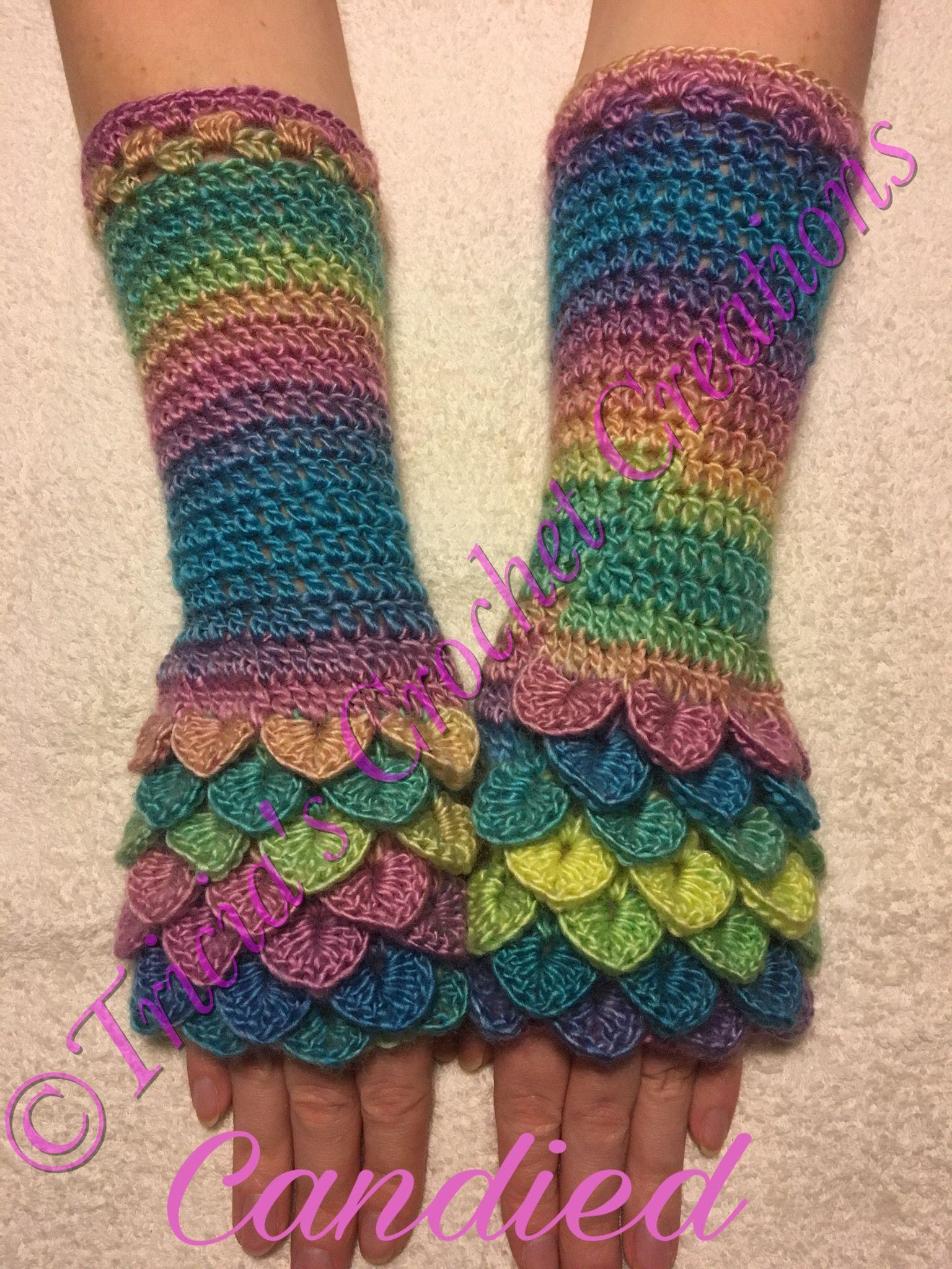 Pin von Tricia\'s Crochet Creations auf Dragon Scale Fingerless ...