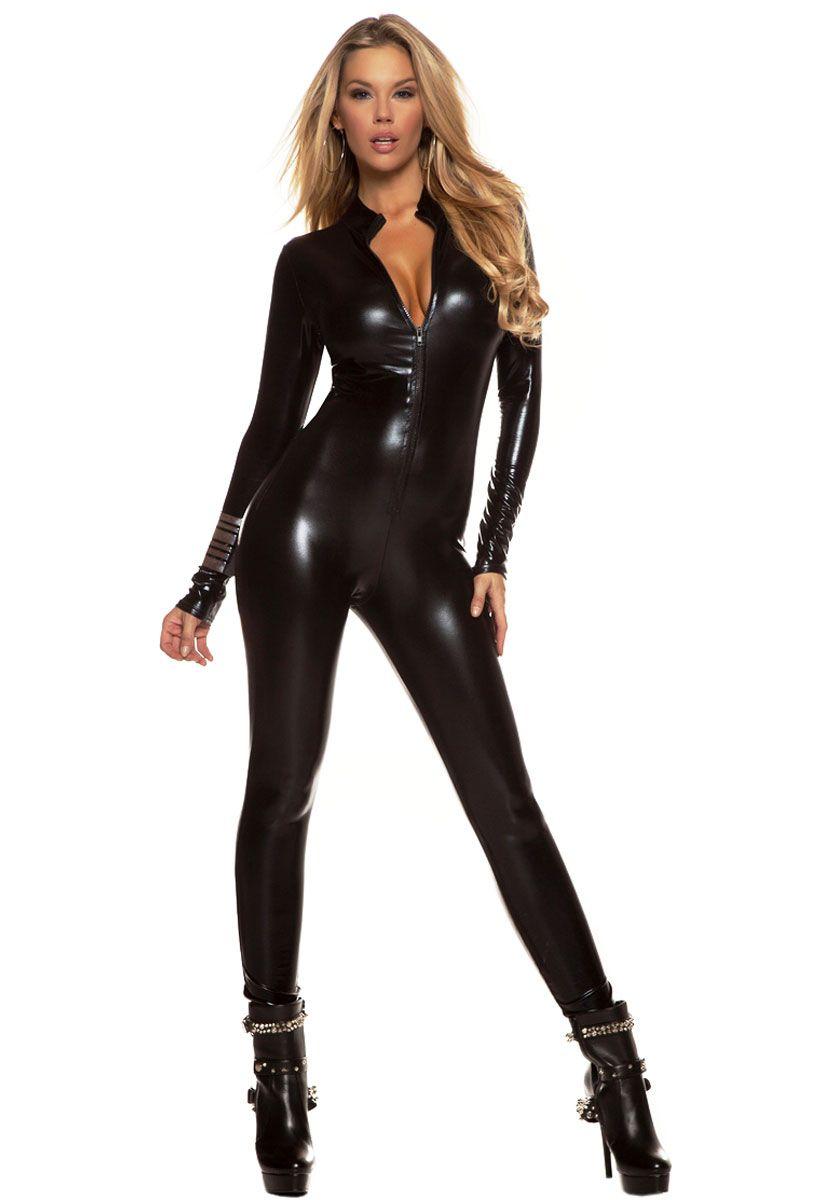 forplay Metallic Zip Front Catsuit in Black