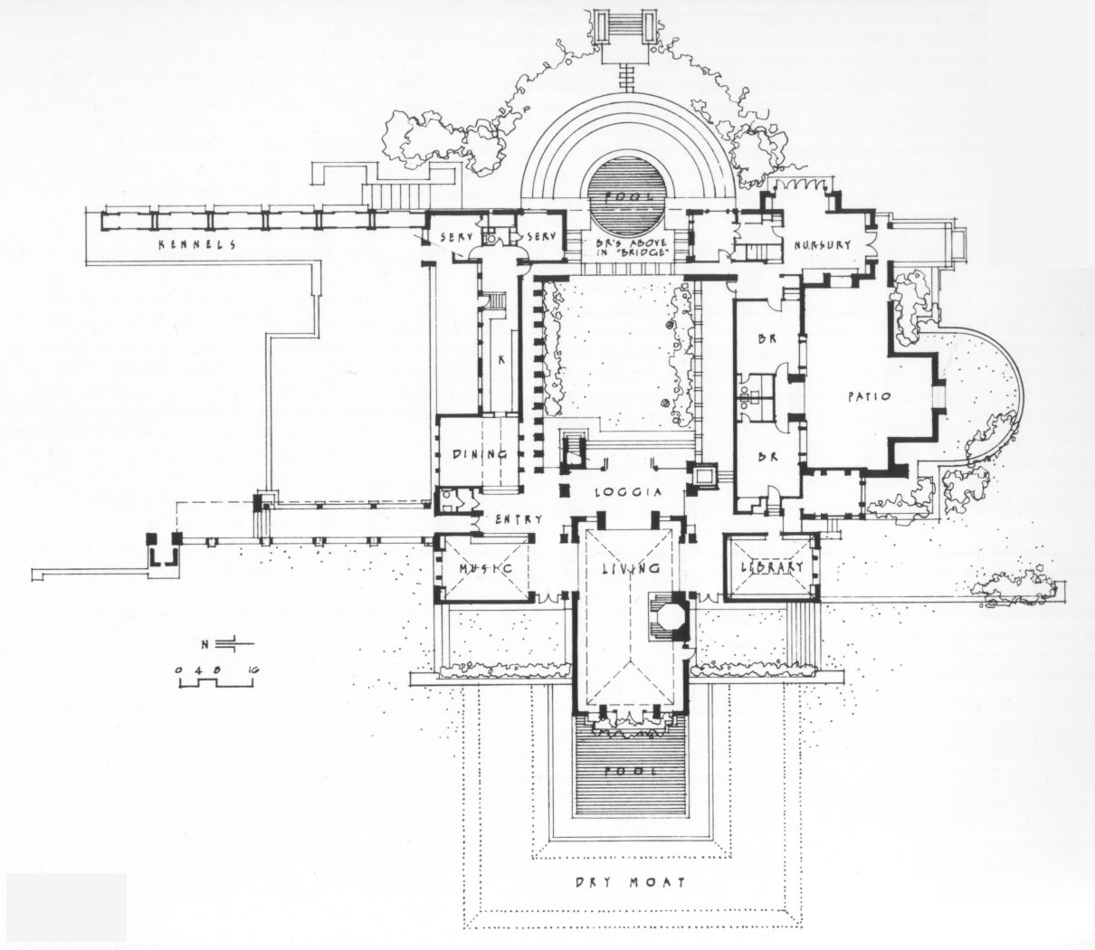 Ground floor plan frank lloyd wright 39 s hollyhock house Frank lloyd wright house plans free