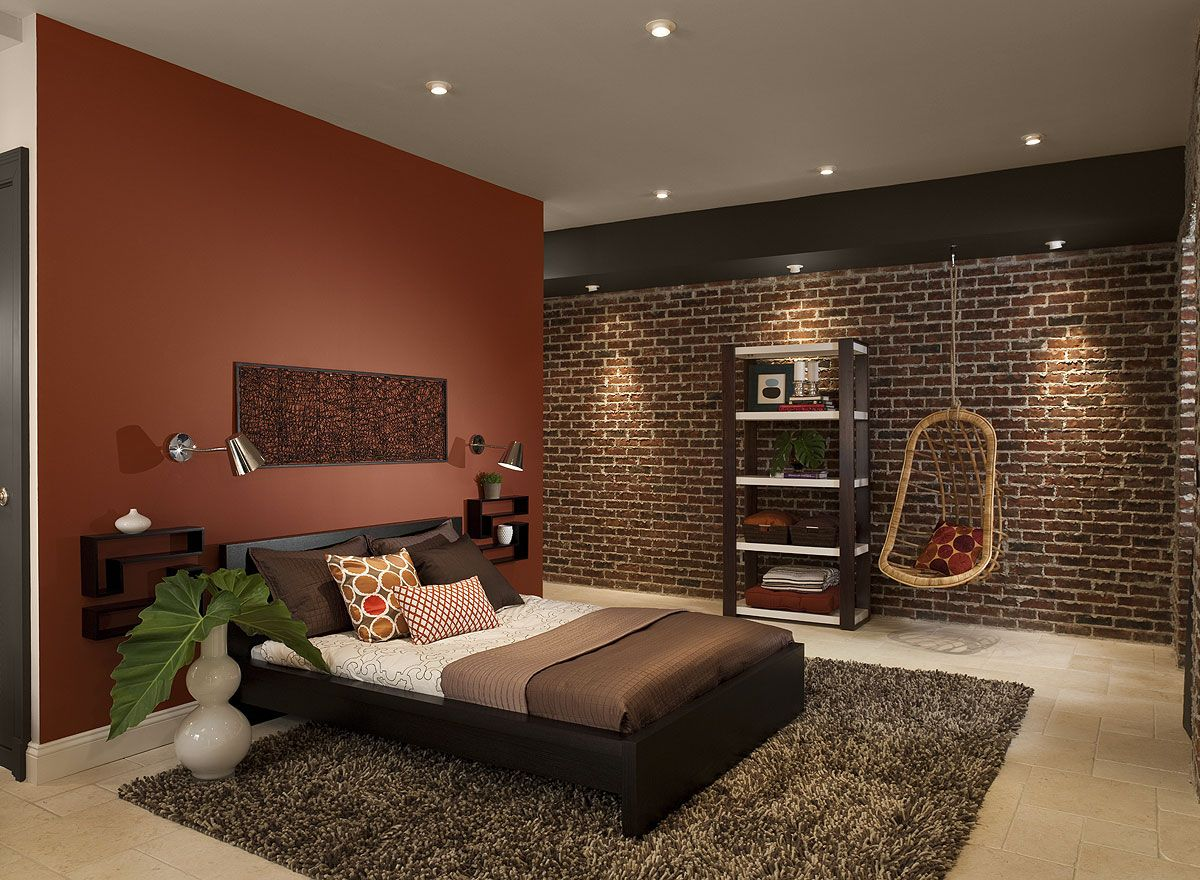 Black and orange bedroom - Captivating Bedroom Design With Red Brick Wall Paint Color Combined Exposed Brick Wall And Black Wooden