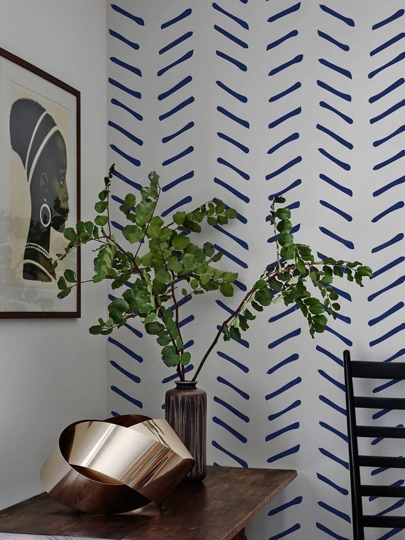 Navy Blue Chevron Wallpaper Peel and Stick Herringbone